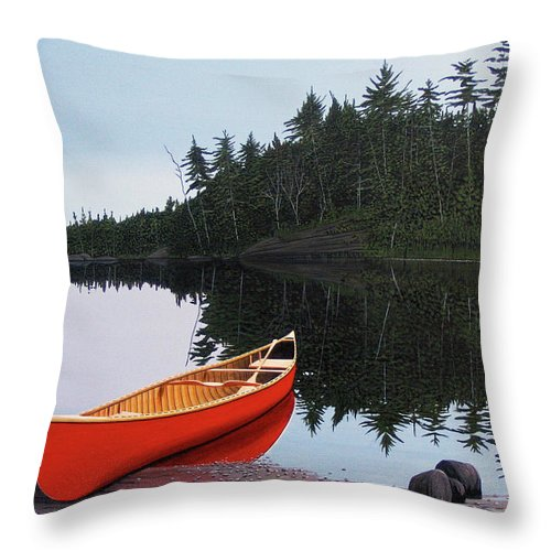 Landscapes Throw Pillow featuring the painting Moments Of Peace by Kenneth M Kirsch