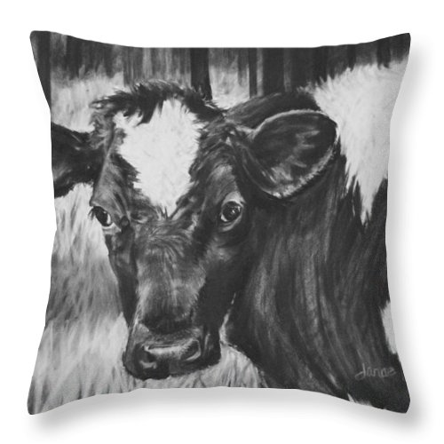 Cow Throw Pillow featuring the painting Momma Cow by Janae Lehto
