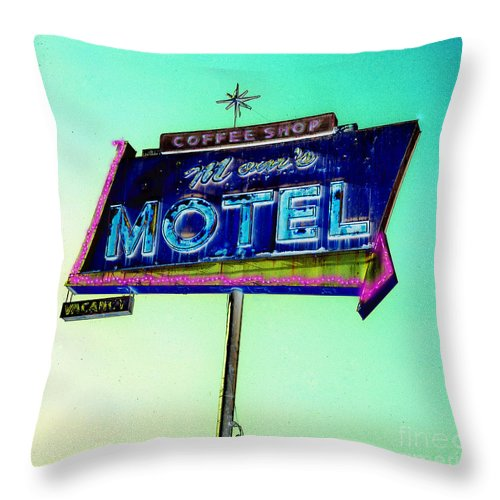 Mom's Motel Throw Pillow featuring the photograph Mom's Motel by Jim And Emily Bush