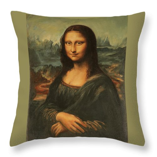 Portrait Throw Pillow featuring the painting Mona Lisa by Eva Santi