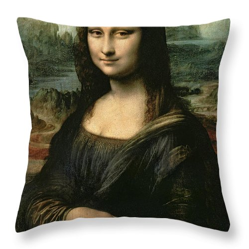 Mona Throw Pillow featuring the painting Mona Lisa by Leonardo da Vinci