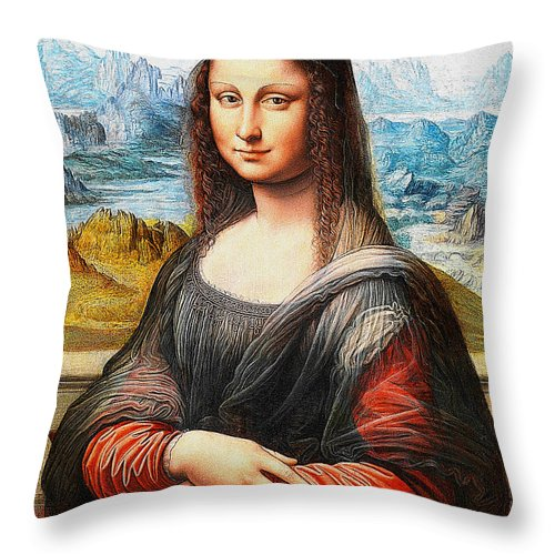 Mona Lisa Throw Pillow featuring the drawing Mona Lisa Painting by Khodor Salame