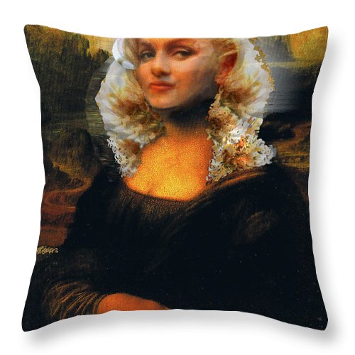 Mona Lisa Throw Pillow featuring the digital art Mona Marilyn by Seth Weaver