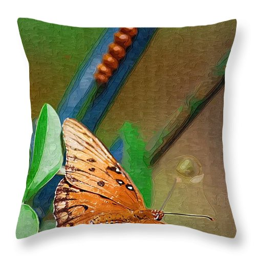 Monarch Throw Pillow featuring the photograph Monarch And Caterpillar by Donna Bentley