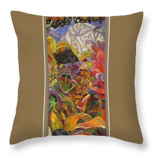 Flowers Throw Pillow featuring the painting Monarch Mountain by Juel Grant