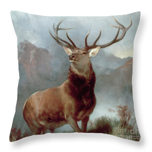 Monarch Throw Pillow featuring the painting Monarch of the Glen by Sir Edwin Landseer