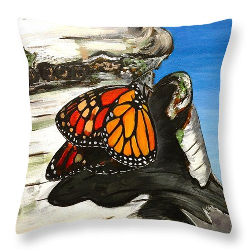 Monarch Throw Pillow featuring the painting Monarch On Birch by Meghan OHare
