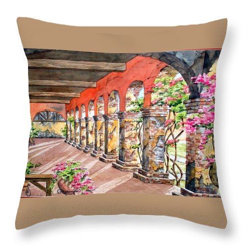 Landscape Throw Pillow featuring the painting Monasterio by Tatiana Escobar