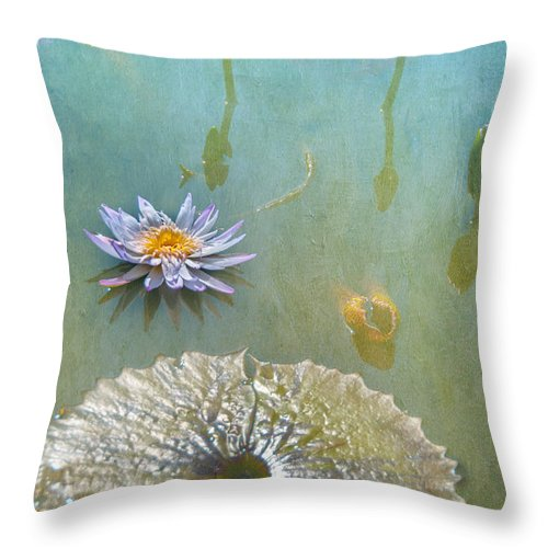 Waterlily Monet Textures Water Flowers Fauna Throw Pillow featuring the photograph Monet Inspired by Carolyn Dalessandro