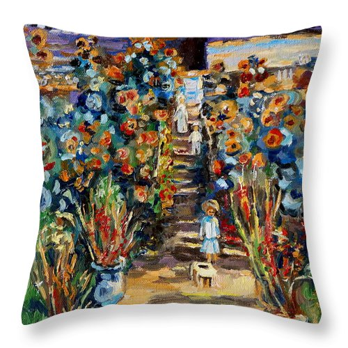Monet Throw Pillow featuring the painting Monets Flower Garden by Carole Spandau