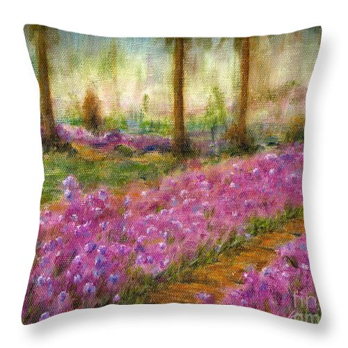 Monet Throw Pillow featuring the painting Monet's Garden In Cannes by Jerome Stumphauzer