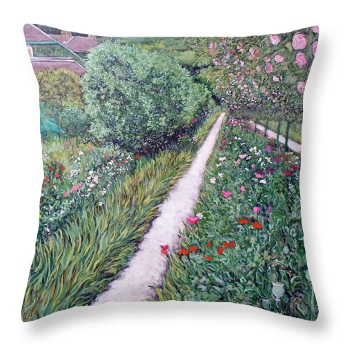 Giverney Throw Pillow featuring the painting Monet's Garden Path by Tom Roderick
