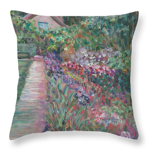 Monet Throw Pillow featuring the painting Monet's Gardens by Nadine Rippelmeyer