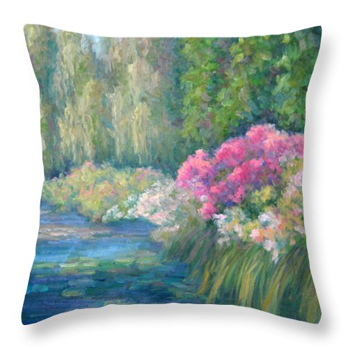 Pond Throw Pillow featuring the painting Monet's Pond by Bunny Oliver