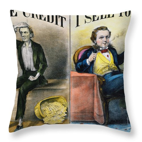 Throw Pillow featuring the painting Money Lending, 1870 by Granger