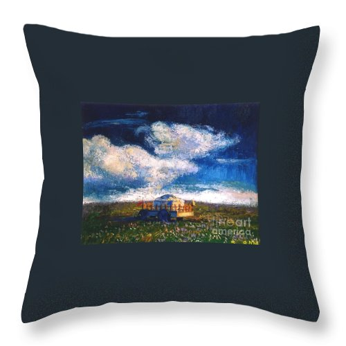 Momgolian Throw Pillow featuring the painting Mongolian Home by Meihua Lu