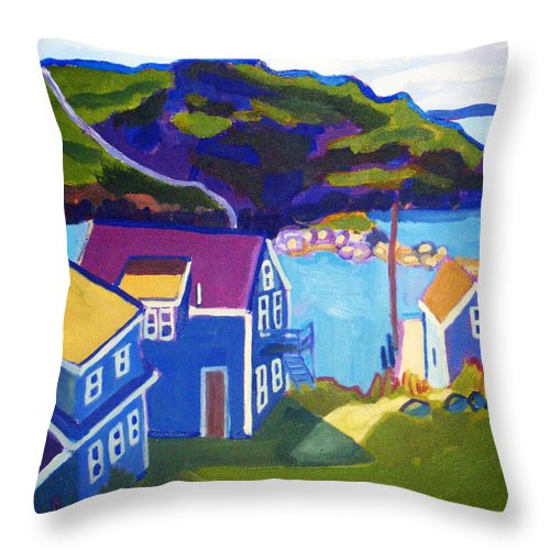Seascape Throw Pillow featuring the painting Monhegan Harbor by Debra Bretton Robinson