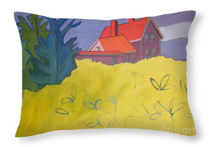 Lighthouse Throw Pillow featuring the painting Monhegan Light by Debra Bretton Robinson