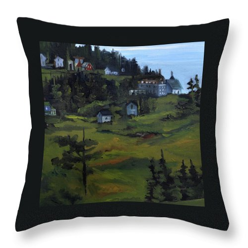 Monhegan Landscape Throw Pillow featuring the painting Monhegan View from Lighthouse Hill by J R Baldini