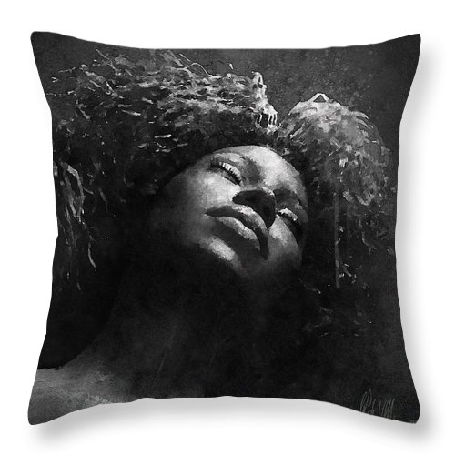 Portrait Throw Pillow featuring the digital art Monique I Bw by Damian De Villiers
