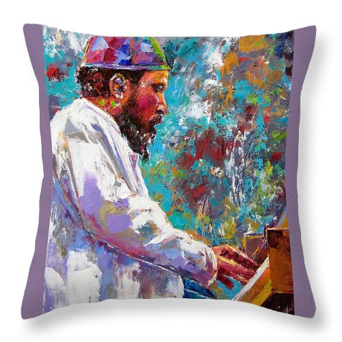 Thelonious Monk Art Throw Pillow featuring the painting Monk Live by Debra Hurd