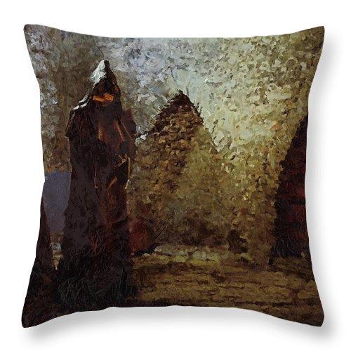 Medieval Throw Pillow featuring the photograph Monk by Pekka Liukkonen