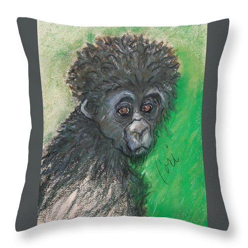 Monkey Throw Pillow featuring the drawing Monkey Business by Cori Solomon