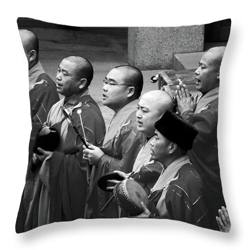 Buddha Throw Pillow featuring the photograph Monks Chanting - Jing'an Temple Shanghai by Christine Till