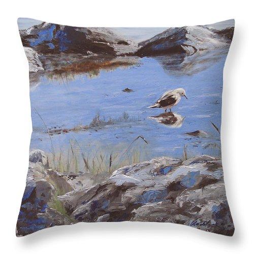 Animal Throw Pillow featuring the painting Mono Lake by Barbara Andolsek