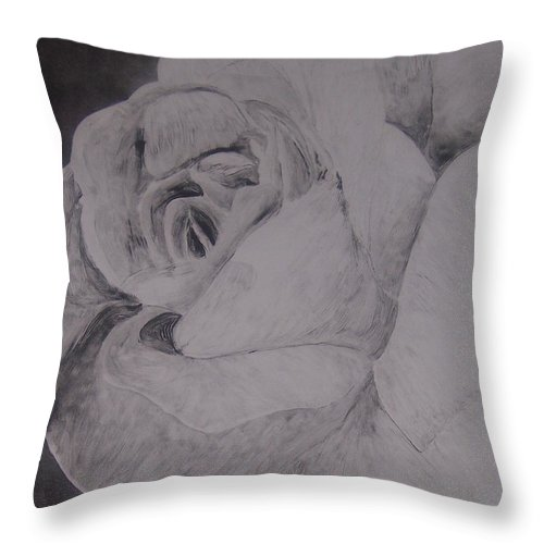 Rose Throw Pillow featuring the painting Mono Rose by Emily Young
