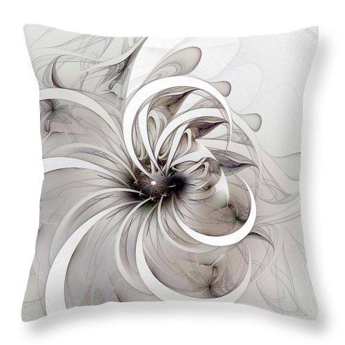 Digital Art Throw Pillow featuring the digital art Monochrome flower by Amanda Moore