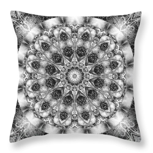 Kaleidoscope Throw Pillow featuring the digital art Monochrome Kaleidoscope by Charmaine Zoe