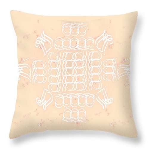 Monograms Throw Pillow featuring the tapestry - textile Monogram Qm Ivorypink by Christine McCole