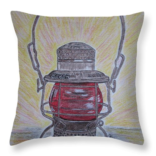 Monon Throw Pillow featuring the painting Monon Red Globe Railroad Lantern by Kathy Marrs Chandler