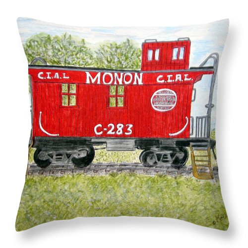 Monon Throw Pillow featuring the painting Monon Wood Caboose Train C 283 1950s by Kathy Marrs Chandler
