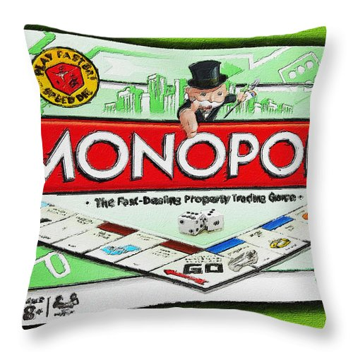 Monopoly Throw Pillow featuring the painting Monopoly Board Game Painting by Tony Rubino