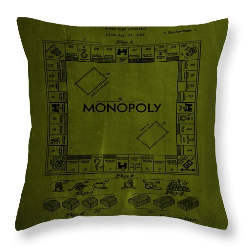 Patent Throw Pillow featuring the mixed media Monopoly Board Game Patent Drawing 1a by Brian Reaves
