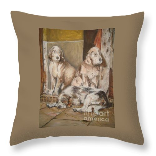 Realistic Throw Pillow featuring the painting Monotony by Rushan Ruzaick