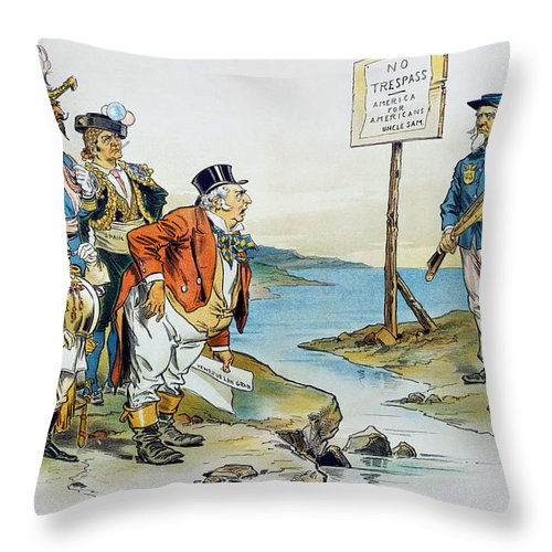 1896 Throw Pillow featuring the photograph Monroe Doctrine, 1896 by Granger