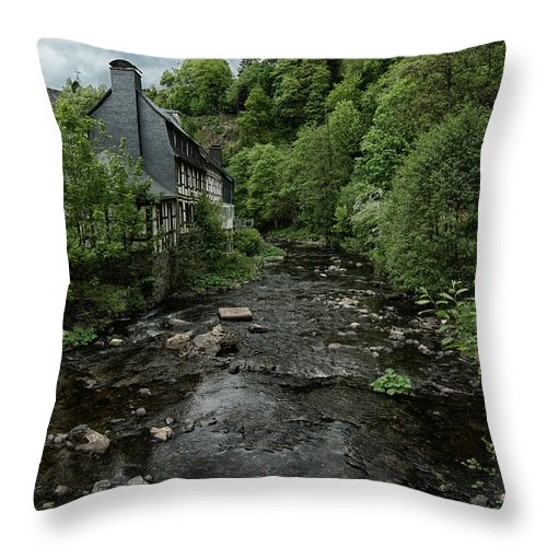 Monschau Germany Throw Pillow featuring the photograph Monschau River Scene by Brothers Beerens