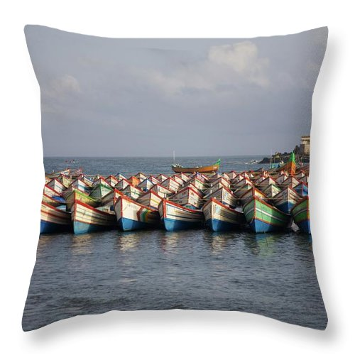 Coastal India Throw Pillow featuring the photograph Monsoon Mooring by Lee Stickels