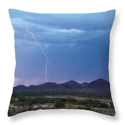 Lightning Throw Pillow featuring the photograph Monsoon Sunset Strike by Cathy Franklin