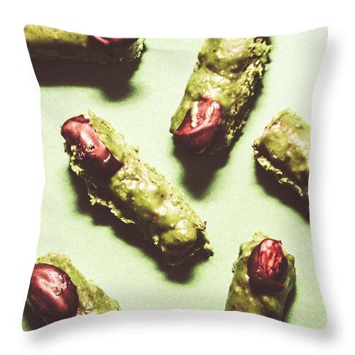 Horror Throw Pillow featuring the photograph Monster Fingers Halloween Candy by Jorgo Photography - Wall Art Gallery