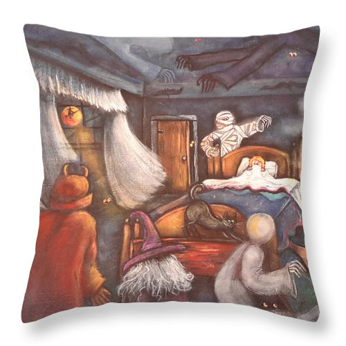 Halloween Throw Pillow featuring the painting Monsters In My Room by Theresa Prokop