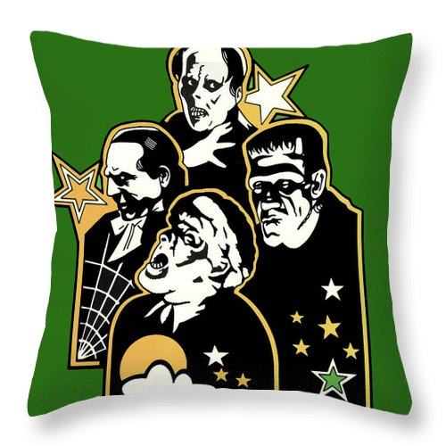 Monsters Throw Pillow featuring the drawing Monsters by Lance Miyamoto