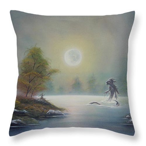 Landscape Throw Pillow featuring the painting Monstruo Ness by Angel Ortiz
