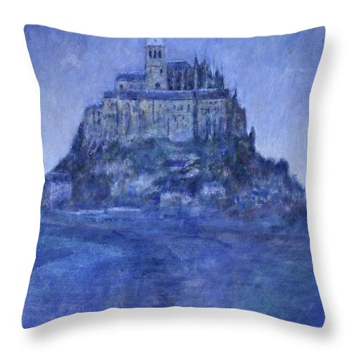 Mont St Michel Throw Pillow featuring the painting Mont St Michel by Andy Mercer