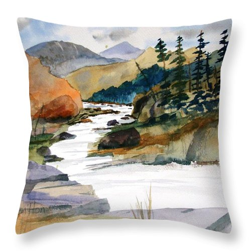 Watercolor Throw Pillow featuring the painting Montana Canyon by Larry Hamilton