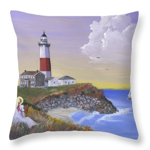 Lighthouse Throw Pillow featuring the painting Montauk Lighthouse by Jerry McElroy