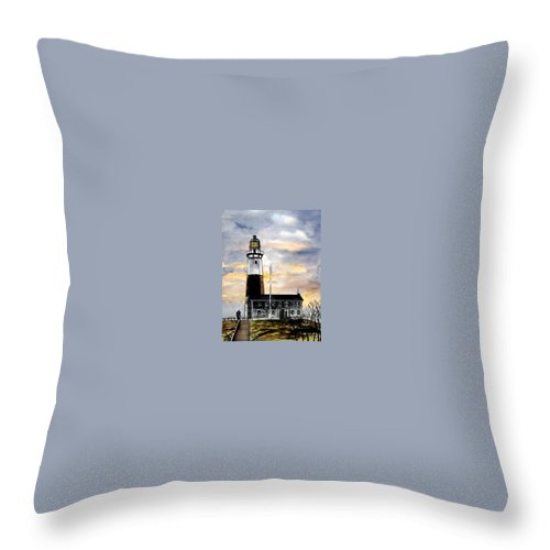 Montauk Point Throw Pillow featuring the painting Montauk Point Lighthouse by Derek Mccrea